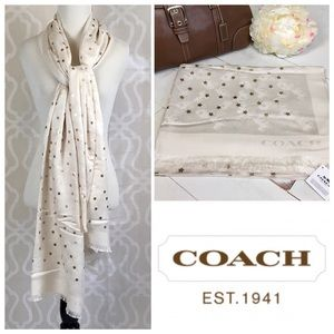 Coach Horse & Carriage Gold Foil Star Oblong Scarf